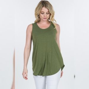 Tops - Olive Color Basic Casual Round Hem Tank Top